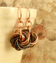 Eternity Copper Earrings - The Stylish Side of Chainmaille - Your Pick of Accent Color. $25.00, via Etsy.