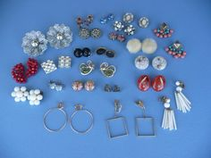 Fun Vintage Lot Of 23 Earrings ~ 1940's, 1950's, 1960's And 1970's Earrings ~ Screw On And Clip On Earrings ~ All Different
