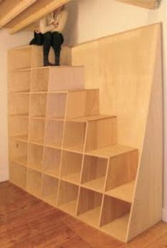 useful stairs. can have tambour doors covering the shelves (to hide clutter without getting in the way) and cover steps with underlay and soft carpet. add a handrail. perfect design for a tiny home. easy DIY.