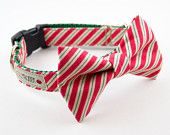 Red Peppermint Stick Bow Tie Dog Collar