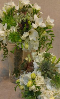 Succulents,hydrangea and freesia, bridal bouquet.