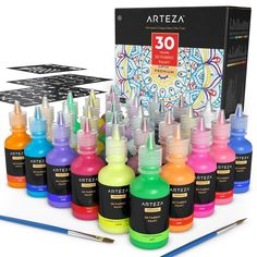 30 Individual fl oz) easy-squeeze Tubes Rich, Vibrant Colors that create a effect Metallics, Flourescent, Glitter, and Glow in the dark colors Includes 3 Stencils & 2 Brushes ACMI Certified - Adhere to strict quality standards Dark Colors, Vibrant Colors, Washable Paint, Paint Supplies, Diy Artwork, Gifts For An Artist, Bottle Painting, Paint Set, Arts And Crafts