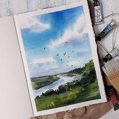 Aquarelle акварель в 2019 г. Watercolor Drawing, Watercolor Landscape, Landscape Art, Painting & Drawing, Landscape Paintings, Summer Landscape, Aesthetic Painting, Guache, Art Inspo