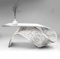TORSION front desk /table / console sculpture a twisted metal sheet carved arabic calligraphy art. plaited with white aluminum powder by Sako Tchilingirian. Metal Furniture, Unique Furniture, Furniture Design, Furniture Dolly, Furniture Online, Arabic Decor, Islamic Decor, Islamic Art, Home Interior Design