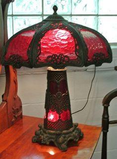 Bradley Hubbard Art Nouveau Red Slag Glass Lamp