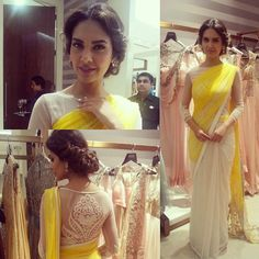 white and yellow saree