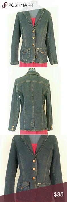 "Levi's Denim Jean Jacket Blazer Classic Denim Jacket gets an upgrade! 99% cotton,  1% spandex. 26"" long,  34"" waist,  40"" bust. 25"" sleeve. Levi's Jackets & Coats Jean Jackets"
