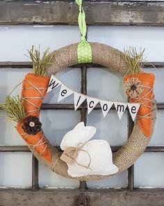 Cute Easter Wreath!!! Bebe'!!! Love the Burlap Spring Wreath!!!