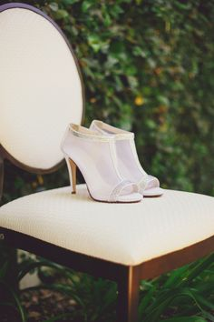 Sheer bridal booties. Photography by closertolovephotography.com  Read more - http://www.stylemepretty.com/2013/08/15/southern-california-wedding-from-closer-to-love-photography/