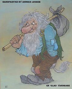 """ En glad vandrare "" ,  "" Een vrolijke wandelaar "" , handpainted by Anneke Legeer , the Netherlands, inspired by Rolf Lidberg.  Sweden, Värmland , 13 september 2017. Elves And Fairies, Gnomes, Adult Coloring, Sweden, Netherlands, Woodland, Folk, September, Fairy"