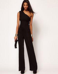 Slim waist one shoulder long design black jumpsuits fashion overalls full pants Plus size XS-XXL