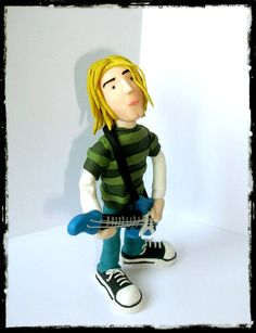Kurt Cobain sculpture polymer clay figurine  hand by KlotoTeam, $50.00