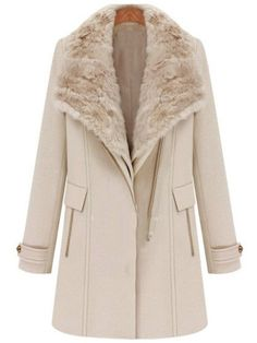 Light Pink Detachable Fur Collar Vest Wide Lapel Zipper Coat