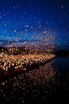 Floating Lantern Festival, Thailand- I want to see this so much, it looks like the floating lanterns in Tangled. Lantern Festival Thailand, Floating Lantern Festival, Floating Lanterns Wedding, Lantern Festival China, Water Lantern Festival, Oh The Places You'll Go, Places To Travel, Places To Visit, Travel Destinations