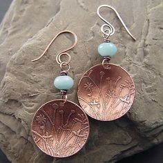 Lucid Moon Studio: etched copper earrings Love the etched pattern on these.