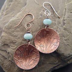 Lucid Moon Studio: etched copper earrings Love the etched pattern on these. Copper Earrings, Copper Jewelry, Beaded Earrings, Wire Jewelry, Beaded Jewelry, Metal Jewellery, Simple Earrings, Coin Jewelry, Jewelery
