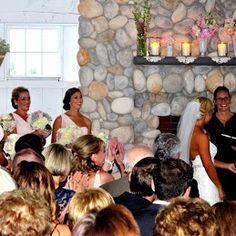 Wedding ceremony at Bonnet Island Estate Boat House Long Beach Island NJ www.forthisjoyousoccasion.com