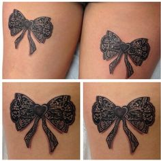 Awesome lace bow tattoo!  Love the details.