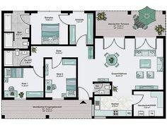 Bungalow familial avec terrasse couverte à rayures - Backyard House, Backyard Playground, Cottage House Plans, Cottage Homes, Bungalows, Terrace Building, Floor Plan Layout, Terrace Design, Diy Pergola