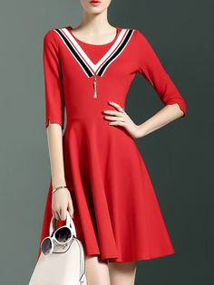 Red Crew Neck Pockets A-Line Dress
