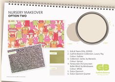 Nursery mood board This brightly coloured alien wallpaper will add some fun and excitement to nursery walls. All products available in New Zealand from Guthrie Bowron stores. White Roller Blinds, Curtains With Blinds, Some Fun, Walls, Nursery, Mood, Wallpaper, Fabric, How To Make