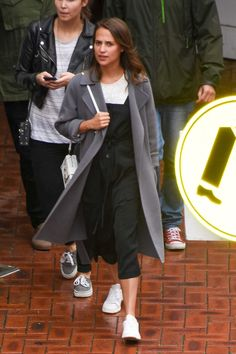 Beautiful actress Alicia Vikander wearing our coat Kingston while out on a bowling date with Michael Fassbender in Sydney last sunday.