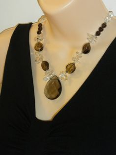 Items similar to Romantic Nights---smoky quartz faceted pendant, natural, yellow, brown natural freshwater pearls, handmade Necklace/Earrings on Etsy Smoky Quartz Necklace, Quartz Crystal Necklace, Beaded Necklace, Handmade Necklaces, Handmade Gifts, Smoky Topaz, Romantic Night, Beading, Boards