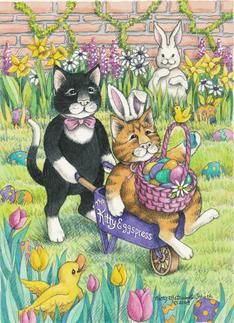Cats Delivering Easter Eggs (Bud & Tony)