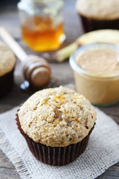 Peanut Butter, Banana, and Honey Muffins Recipe on twopeasandtheirpod.com If you like peanut butter, banana, and honey sandwiches, you will love these simple and healthy muffins! They are great for breakfast or snack time!