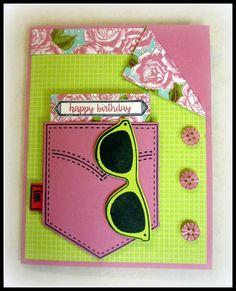 Julyarts Metal Cutting Dies New 2018 Scrapbooking Cutting Stencil Craft Dies Pocketful Sunshine Sunglasses Dies купить на AliExpress Homemade Birthday Cards, Girl Birthday Cards, Homemade Cards, 16th Birthday, Birthday Gifts, Teenage Girl Birthday, Pocket Cards, Card Tutorials, Card Sketches