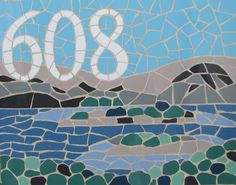 Decorative house number in mosaics; mosaic house sign/plaque; variety of sizes, colours and themes available, eg the view from the house!
