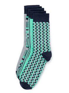 Blue Geometric 5 Pack Socks