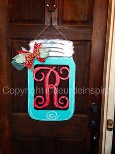 Red and turquoise R monogram Mason jar by fleur-de-inspire Hanging Mason Jars, Painted Mason Jars, Preschool Crafts, Diy Crafts, Preschool Alphabet, Wood Crafts, Monogram Painting, Painted Monogram, All About Me Crafts