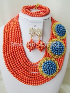Amazing Orange and Blue Turquoise Necklace Nigerian Wedding African Beads Costume Jewelry Set 2014 New Free Shipping TC007 $68.69