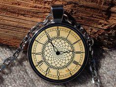 Clock pendant Clock necklace Clock jewelry Clock art by Aranji