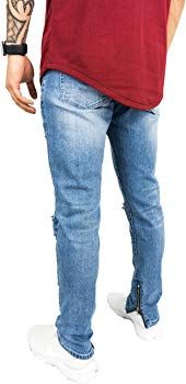 249240cbc2c The Native Men's Distressed Denim Jeans Blue Pants Destroyed Knees Slim Fit Ankle  Zippers (36