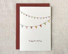 bunting birthday card - on kraft Handmade Birthday Cards, Happy Birthday Cards, Cute Cards, Diy Cards, Birthday Card Drawing, Birthday Bunting, Card Envelopes, Tampons, Watercolor Cards