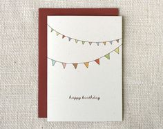 bunting birthday card - could diy this.