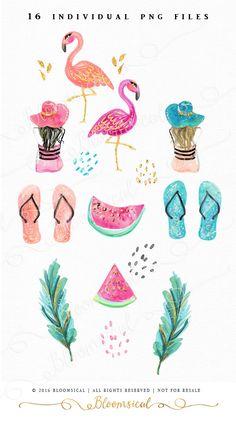 Tropischer ClipArt Handgezeichnete Fashion von Bloomsical auf Etsy
