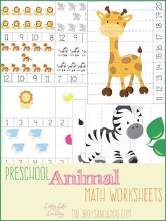 Preschool Animal Theme Math Worksheets - counting activities, number order & cutting practice cards - free printables for your preschool children