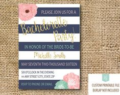 Bachelorette Invitation-Blue and White Stripes with Flowers, Printable File- Last Fling Party or Hen Party Invitation. Click through to find matching games, favors, thank you cards, inserts, decor, and more. Or shop our 1000+ designs for all of life's journeys. Weddings, birthdays, new babies, anniversaries, and more. Only at Aesthetic Journeys