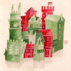 Illustration by Hilda © Groenesteyn / studio Hille Location History, Red Green, Shit Happens, Studio, Holiday Decor, Studios