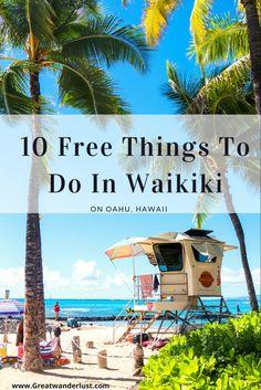 A guide to 10 free things to do in Waikiki, hawaii Hawaii Vacation Tips, Hawaii Travel Guide, Hawaii Honeymoon, Travel To Hawaii, Vacation Spots, Vacation Ideas, Hawaii Things To Do, Free Things To Do, Visit Hawaii