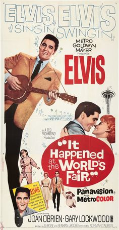 It Happened at the Worlds Fair Elvis Movie Poster Iron On T-Shirt Transfer Elvis Presley Records, Elvis Presley Posters, Elvis Presley Movies, Elvis Presley Photos, Old Movies, Vintage Movies, Old Movie Posters, Romance Movies, Old Tv Shows