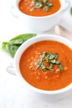 Creamy Tomato Orzo Soup Recipe on www.twopeasandtheirpod.com Greek yogurt makes this soup creamy! #soup