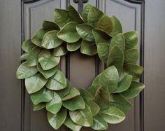 Magnolia Wreath, Fixer Upper Magnolia Wreath, Magnolia Leaf Wreath, Year Round Magnolia Wreath, Green Magnolia, Realistic Magnolia Wreath