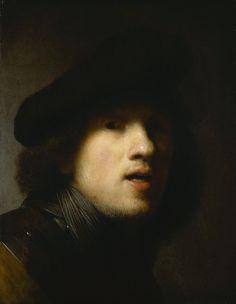 Rembrandt van Rijn - Zelfportret (1629) met halsberg en baret