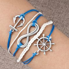 Anchor Bracelet Charm  Bracelets - infinity bracelet wheel anchor blue leather rope bangle Image.Anchor Bracelet Charm #Anchor #Bracelet #Charm #AnchorBracelet #AnchorCharm