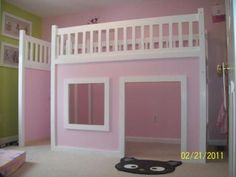 DIY plans for a play house loft bed!!! I love this!! I can hang curtain rods from the ceiling and give the canopy bed feel too...