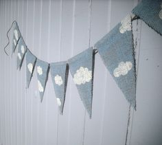 Items similar to Clouds Nursery Decor Burlap Banner / Photography Prop on Etsy